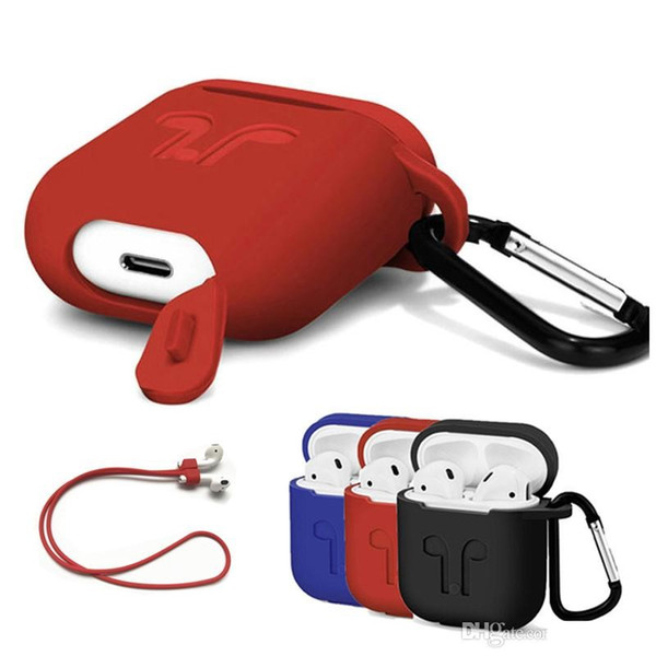 wholesale Apple AirPods Protective Shockproof Silicone Case With Anti-lost Strap Dust Plug Retail Package For iPhone Bluetooth Earphone
