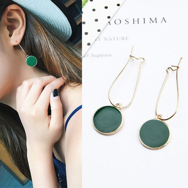 8f1e1e6832062 2019 South Korean Women Fashion Girls Temperament Earrings Bow Earrings  Simple Personality Wild Long Section Of The Green Wafer Earrings Ear Je  From ...