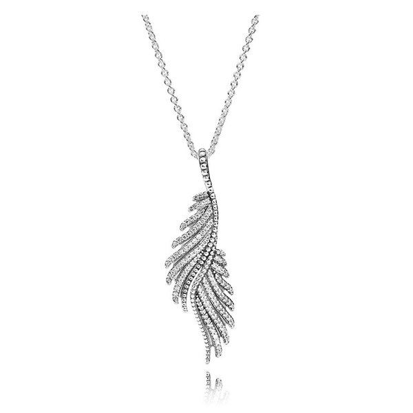 Women Luxury fashion Jewelry Crystal stone Necklaces Logo Original box for Pandora 925 Sterling Magnificent feather Pendant NECKLACE