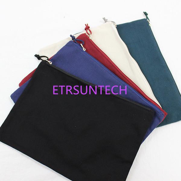 Large Colorful Pure color canvas file pouch Cotton Canvas bag for ipad Canvas zipper bag Cotton Clutch Bag make up pouch 34cmx24cm LX0597