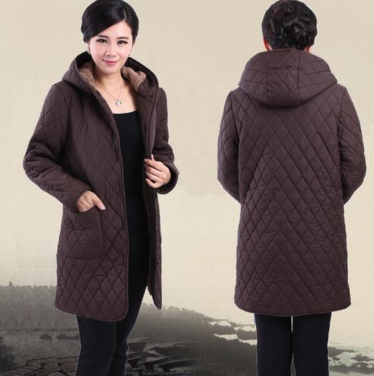 Parkas 2017 winter new middle-aged plus fertilizer to increase cotton velvet hooded winter jacket mother dress 92398