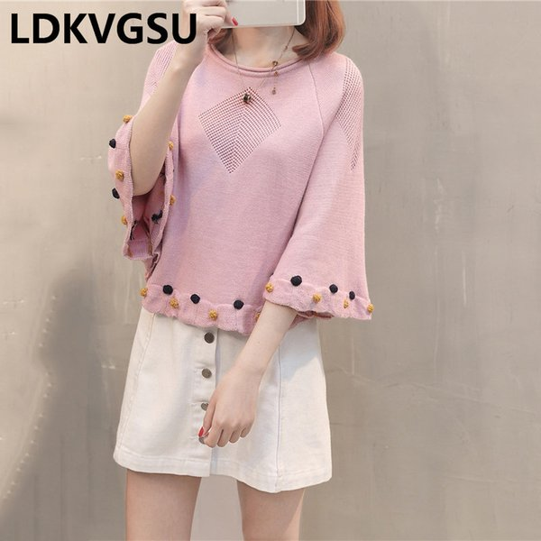 2018 Frühling Herbst neue sieben Ärmel Frauen Schal Mantel stricken Pullover lose große Multicolor weiblichen Fledermaus Shirt Pullover is804