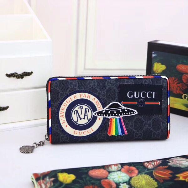 0214b390c2ae3 Uzun fermuarlı Siyah deri erkek cüzdan kutusu ile Metalik vintage logo  baskı küçük çantalar kadın kart
