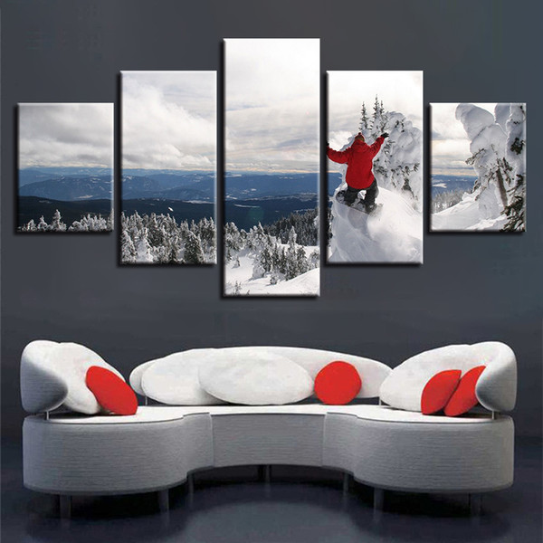 Wall Art Canvas 5 Piece Winter Sports Skiing Painting Print Pictures Modular Ski In Snow Mountain Sports Poster Home Decor Frame