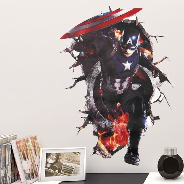 & Cartoon Avengers Captain America Broken Wall Stickers Boys Room Bedroom Nursery Home Decor 3d Vinyl Posters Wall Decal Movie