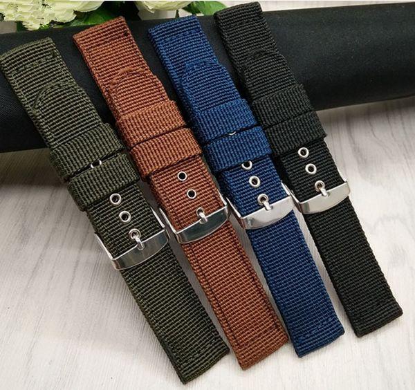 16 18 20 22 24MM رجل سيدة أسود أخضر أزرق بني مربط الساعة اليدوية أقمشة نايلون قماش حزام حزام فضي مصقول دبوس مشبك