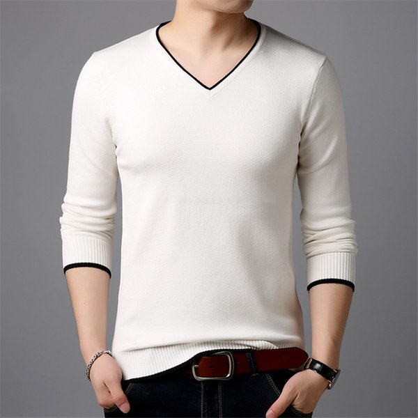 COFFEY fashion Christmas sweater men 2018 autumn and winter pure cotton V collar pullover men casual matching sweater size