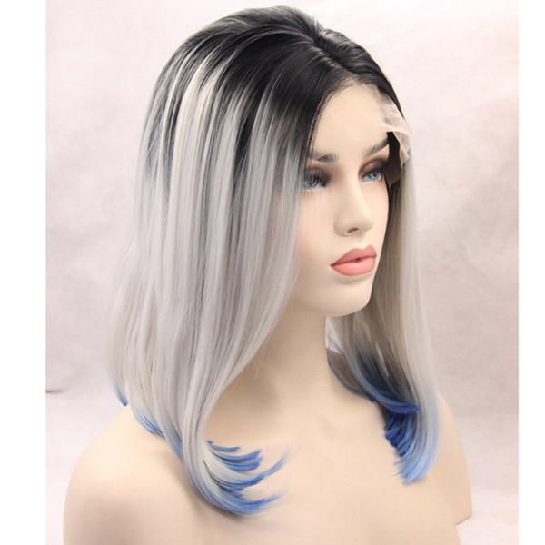Short BOB Cosplay wigs 3 Tones Silver grey Synthetic Lace Front Wig Black Gray white Blue Ombre Straight wig Heat Resistant Hair