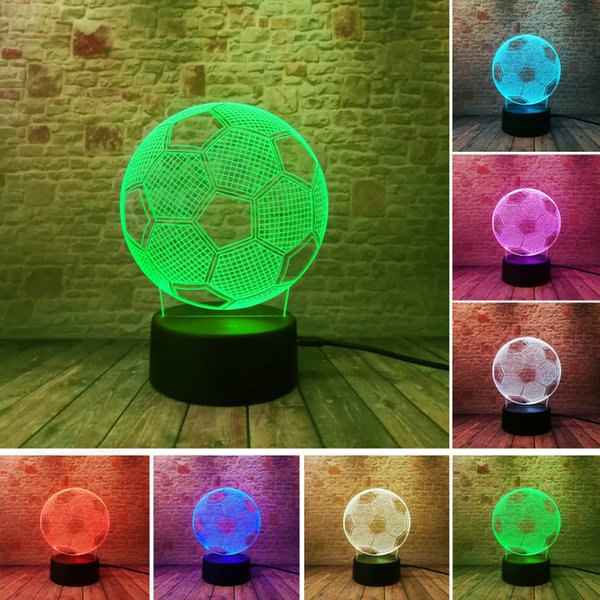 3D Illusion Football Remote Control LED Desk Table Night Light 7 Color Touch Lamp kids Family Holiday Gift Home