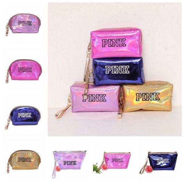 FRAUEN rosa Laser Kosmetiktasche Make-up Veranstalter Schönheit Necessaries Fall Lagerung Pailletten Reise Make-up tasche Große Kinder Taschen 12 Farben 50 stücke