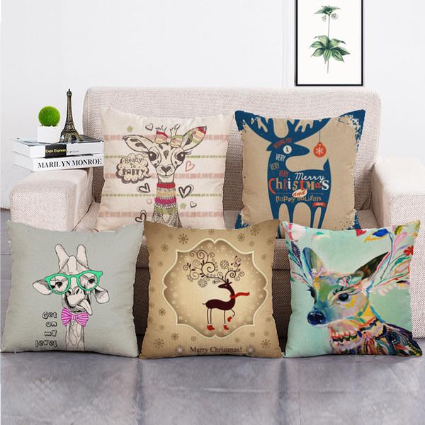 European American Vintage Lovely Deer Cushion Covers Home Decorative Pillows Cases Cotton Linen 45x45cm Seat Back Bedding Pillowcase