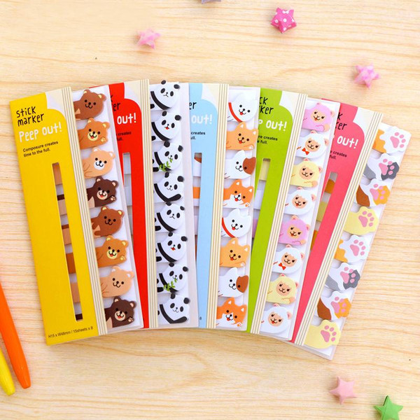 Wholesale- 1PCs New Kawaii Cat Dog Animals Style Notepad Memo Pad Paper Stick Marker Message Label Sticker Memo H0209