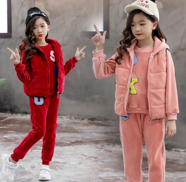 Fashion trend winter dress girls three-piece set Korean version of medium - sized girls thickened golden fleece thermal set wholesale
