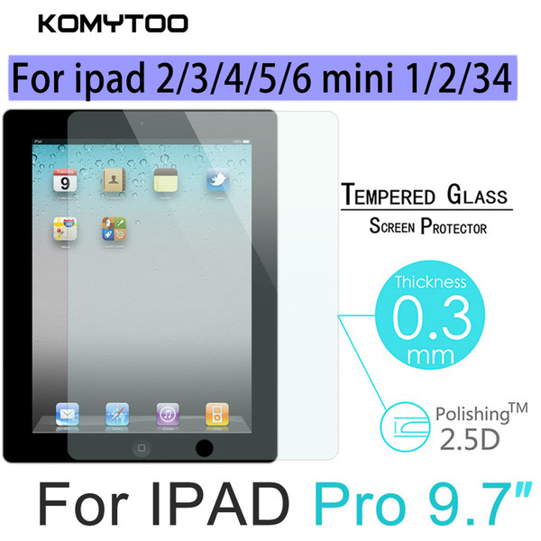 Tempered glass for ipad 2 3 4 5 6 Mini 1 2 3 4 pro blue flat panel HD explosion-proof screen protector easy to install Dur