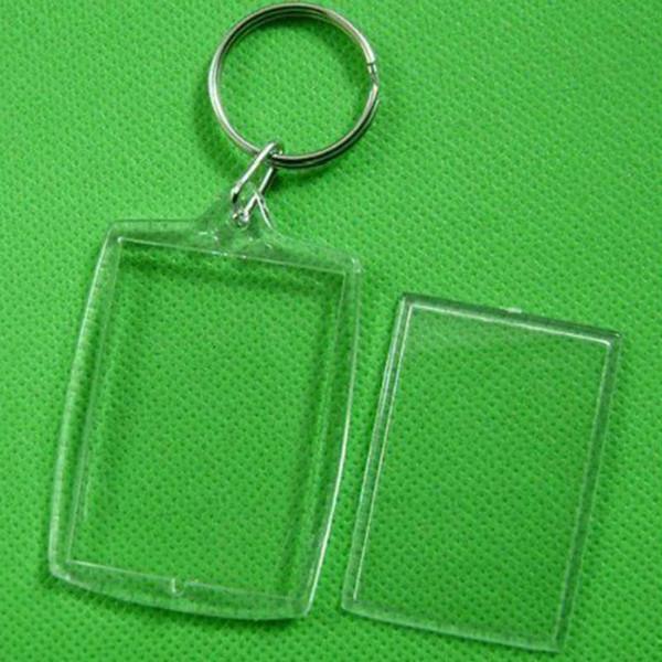 10 pezzi trasparente in bianco Photo Frame Portachiavi Split Ring 32x46mm medaglioni regalo portachiavi