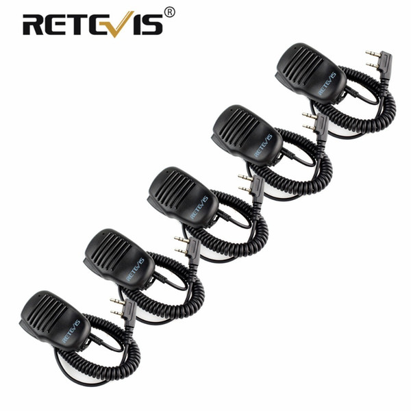 5pcs Remote Speaker Microphone 2Pin PTT Mic Walkie-Talkie Accessories Baofeng UV5R BF-888s Retevis RT5R H777 RT7 For Kenwood