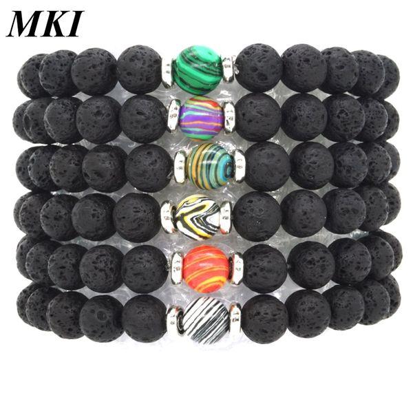 6 Color 8mm Malachite Stone Black Lava Beads Bracelet DIY Essential Oil Diffuser Bracelet Volcanic Rock Jewelry