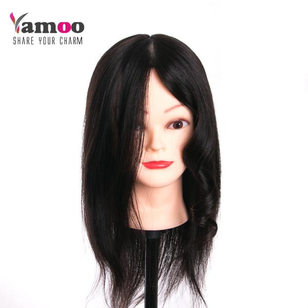 Cabeza del entrenamiento del cabello humano del 100% real para las muñecas del maniquí de la peluquería del salón Niza los 45cm con la cabeza que diseña profesional del sostenedor libre