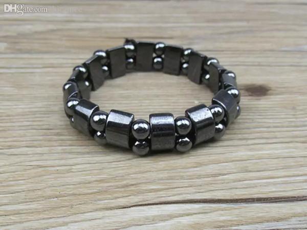 Atacado-NAB031 1 pc Alta Qualidade Homens Mulheres Black Natural Magnética Hematita Terapia Arthritis Beads Pulseira 18 cm