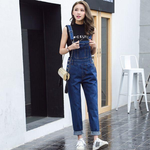 S-XL Jeans Women 2018 Jumpsuit Denim Overalls loose Long Trousers blue Denim Pants Rompers womens (B1282)