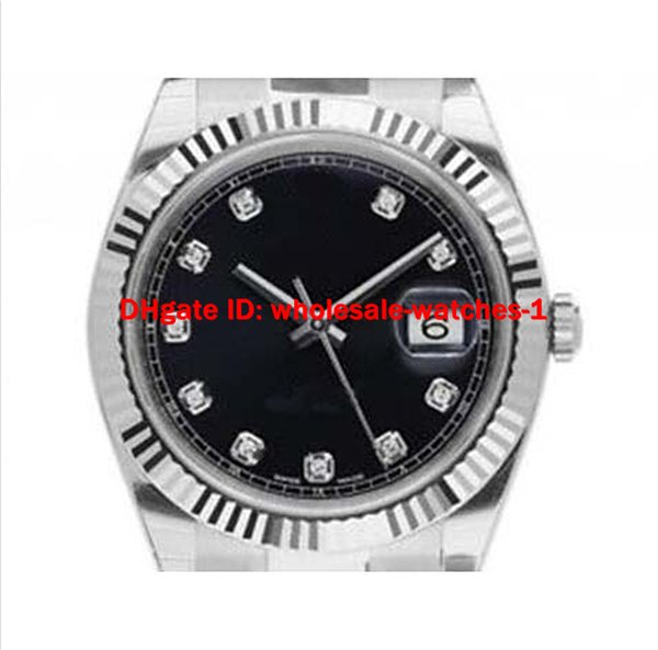 Wholesale - luxury watch mens men watches Wrist watch automatic stainless steel strap black dial Diamond Calibration 41mm 126334