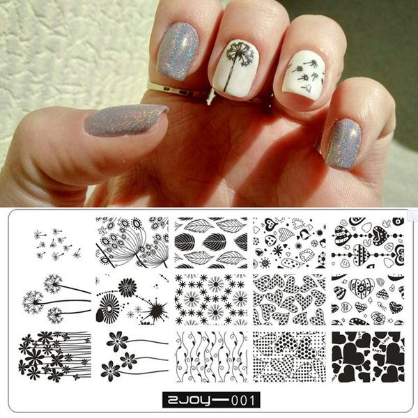 ZJOY Series Nails Flower Rectangle Nail Stamping Template Dandelion Flower Butterfly Bee Spring Plant 3D Nail Art Stamping Plate