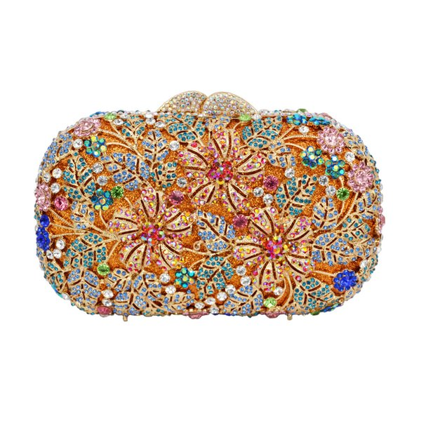 LaiSC Luxury crystal evening bag Clutch purse pink party purse Diamond clutch bag wedding bride Banquet handbag SC225 Y18103004