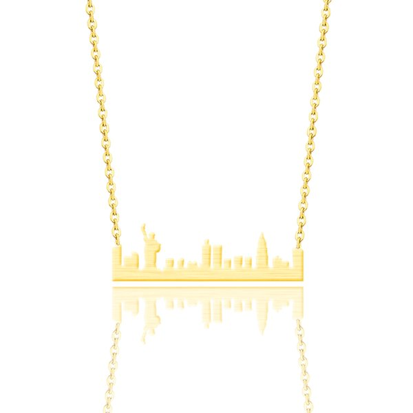 Vintage Stainless Steel New York Skyline Necklace Women Ethnic Jewelry Silver Gold Color US Cityscape Pendant Necklaces Colar