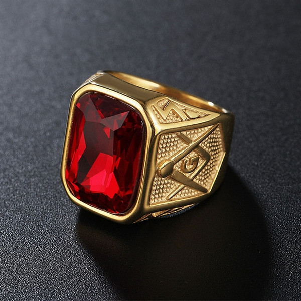 Vintage Gold Color Red Black Blue Green Big Stone Crystal Masonic 316L Stainless Steel Men Ring Size 8-12#