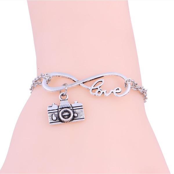 New Hot Antique Silver Infinity Symbol Love&Camera Charm Pendant Adjustable Bracelet Bangle Creative Couple Jewelry Holiday Gift