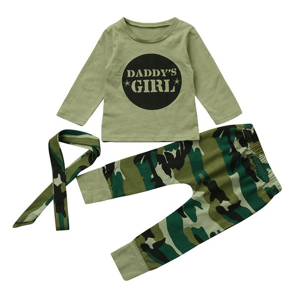 Cool Baby Girls Letter Daddy Girl Tops Camouflage Pants Outfits Set Clothes 3Pcs Newborn Toddler Sep 29
