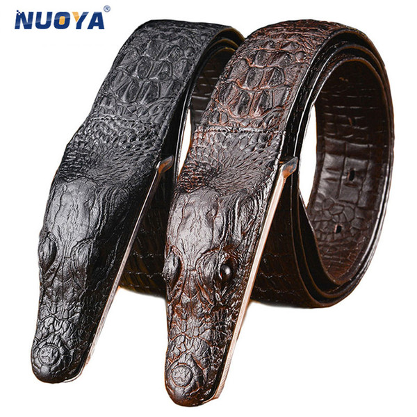 Men's Belt Crocodile Pattern Cowhide Genuine Leather Business Casual  Crocodile Male Belts Alligator Head Gift for Men