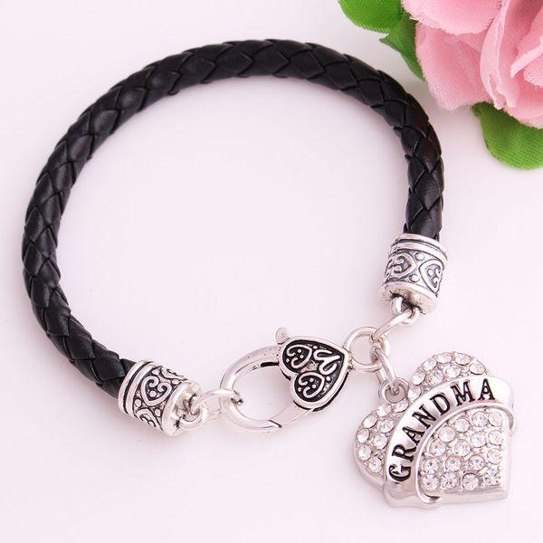 Carta de moda ABUELITA con chispeante cristal claro joyería del corazón colgante pulsera de cadena de cuero joyería Dropshipping