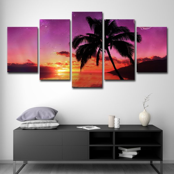 Tela Wall Art Pictures Home Decor 5 Pezzi Martinique Sunset Paintings Soggiorno HD Stampato Palm Tree Seascape Posters