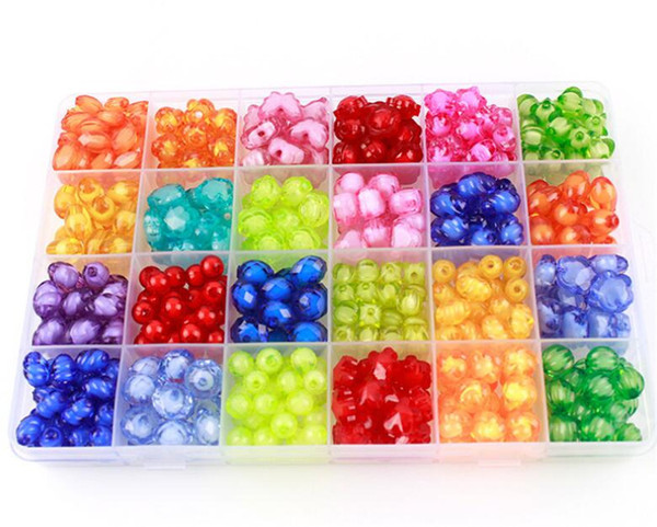 Best Gift Mixed 500pcs Diy Loose Acrylic Beads Set Accessories For Necklace Bracelet Girl Developmental Toys Kids Beads Kits