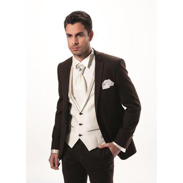 2017 Fashion Two Button Dark Brown Groom men Tuxedos Man Suit Slim Fit Groomsman Bridegroom mens Suits( jacket+Pants+vest+tie)