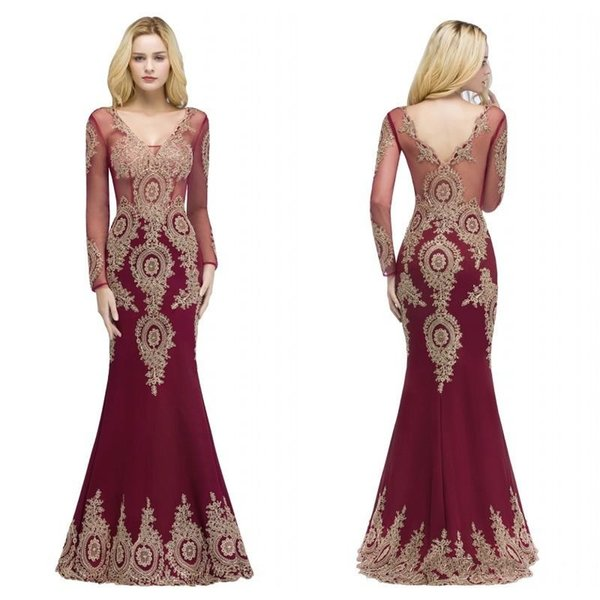 2018 Designer Burgundy Mermaid PROM Dresses V Neck Sheer Long Sleeves Appliqued Lace Evening Gowns Formal PARTY Pageant Dress CPS880
