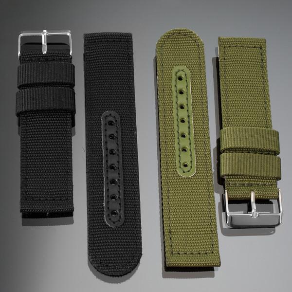Venta al por mayor 20 mm 22 mm reloj correas Heavy Duty correa de nylon bandas de reloj hebilla de acero inoxidable ejército militar deporte correa