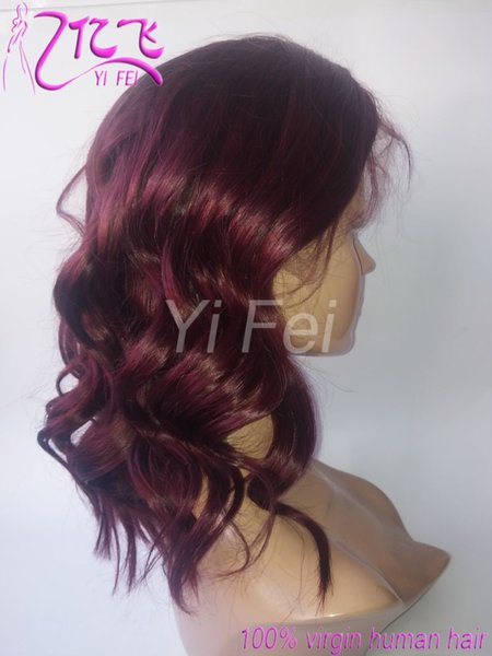 99j Burgundy Brazilian Wavy Wig Remy Ombre Short Bob Loose weave Lace Front Human Hair Wigs With Baby Hair Pre Plucked for Women