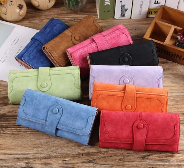 Coin Purse ladies wallet Fashion handbags for girls Card bag Korean version Retro scrub Women's long wallet