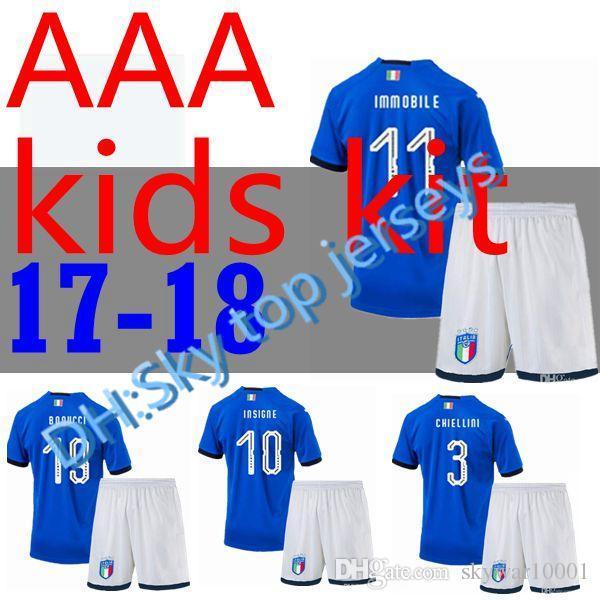 7a01ce37fa0 Italy 2018 World Cup kids Kits Home Youth Jersey 17 18 De Rossi Bonucci  Verratti Chiellini