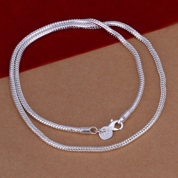 2018 Fashion Solid 925 Sterling Silver Chain 1Pcs 3MM Men Women Necklace 16 - 24inch XMAS New Classic Snake Necklace Chain Link Italy N192