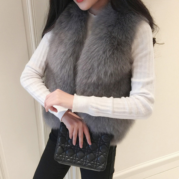 Winter Thick Warm Women\'s Waistcoat Faux Fox Fur Vest Sleeveless Jackets Fake Fur Coat Plus Size Female Gilet Vests 2018