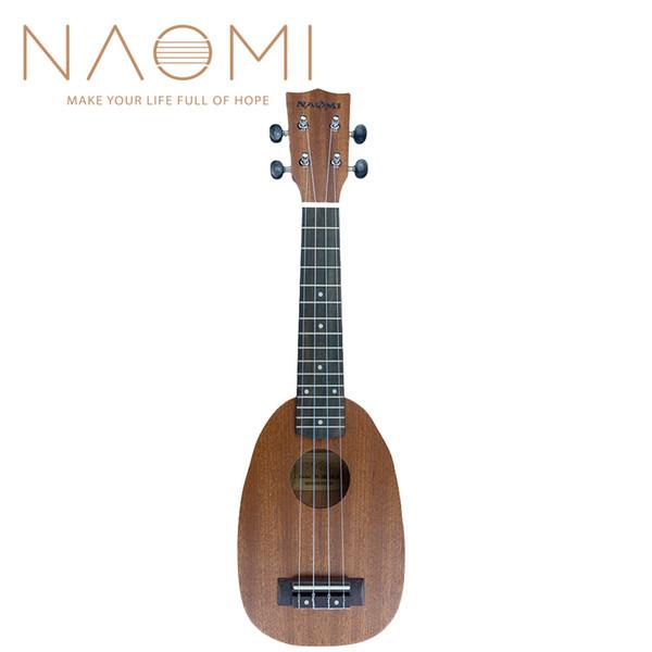"best selling NAOMI Soprano Ukulele 21"" Pineapple Shaped Soprano Ukulele Sapele Matte For Student Kid Beginner"