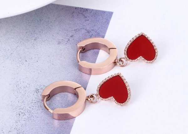 New Korean version of the best selling fashion dark buckle hanging red face heart-shaped rose gold earrings girls wild ladies earrings