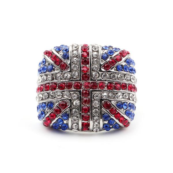 Fashion UK Flag Ring New Arrival The British Flag Ring British mark UK Logo Charm Punk Rock Ring Hiphop Christmas Gift