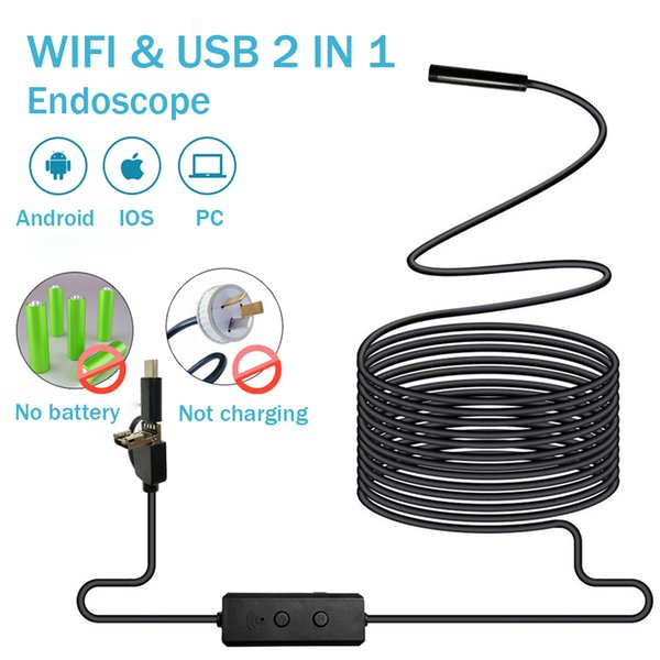 best selling Endoscope Camera No Battery WIFI and USB with Android IOS Endoscopio 720P Inspection Borescope Tube Camera 8 LED 8mm