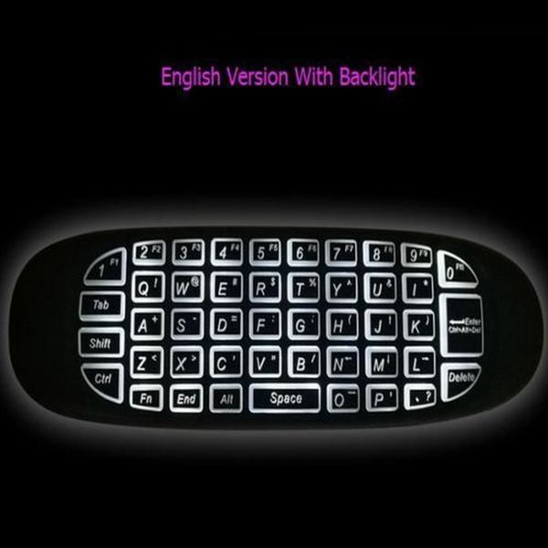 3 Colors C120 Backlight Fly Air Mouse Colorful C120 2.4GHz Mini Wireless Keyboard Backlit Rechargeable Remote Controller for Android TV Box