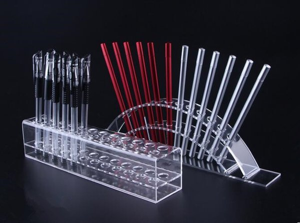 top popular Multifunction Acrylic Pen display stand Color pencil fashion Crystal pen shelf for store display lipstick Eyebrow pencil Pens Brush 5pcs lot 2021