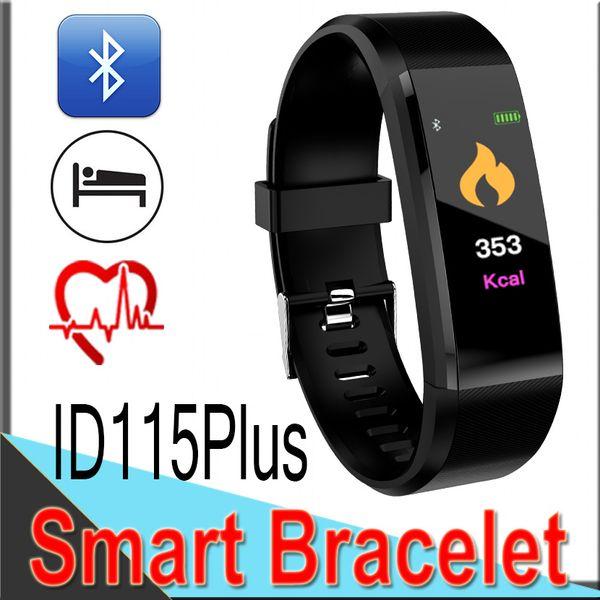 ID115 Plus Impermeabile Smart Wristband Braccialetto Heart Rate Monitor Blood Pressure Watch Pedometro Fitness Tracker Band XD2S